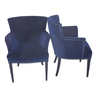 Blue Velvet French Chairs - A Pair