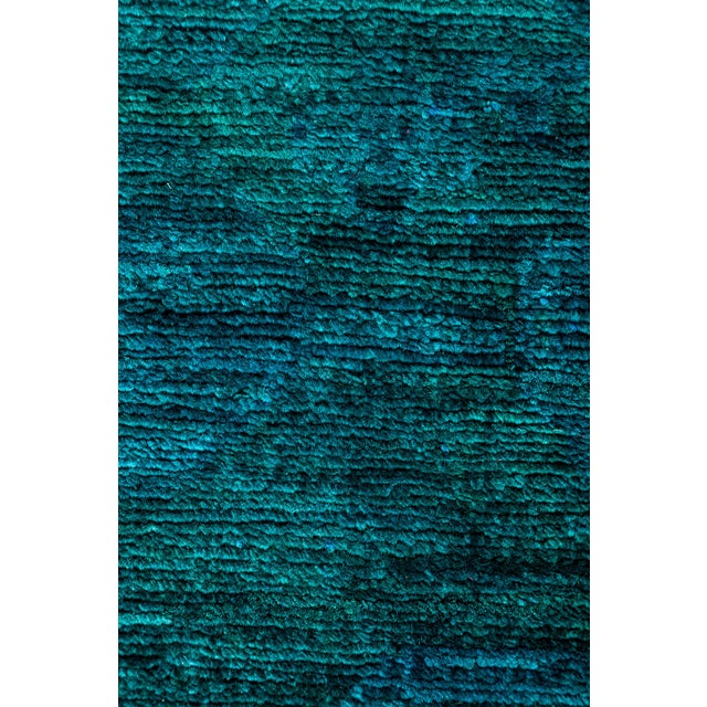 "New Teal Overdyed Hand-Knotted Rug - 8'2"" X 8'2"""
