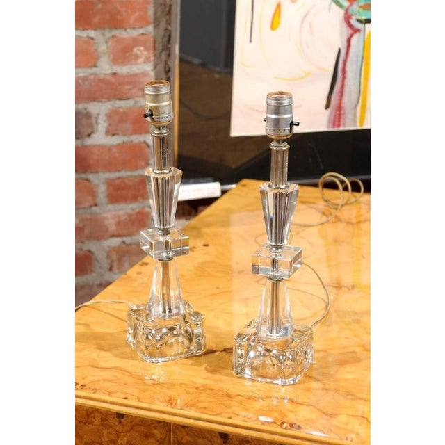 Art Deco Petite Crystal and Glass Lamps - Image 6 of 6