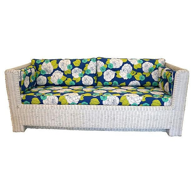 White Wicker Indoor/Outdoor Sofa - Image 5 of 7