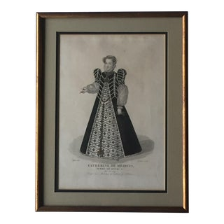 1827 Hand Colored French Engraving Catherine De Medici