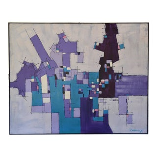 Rodriguez Mid-Century Abstract Geometric Large Oil Painting