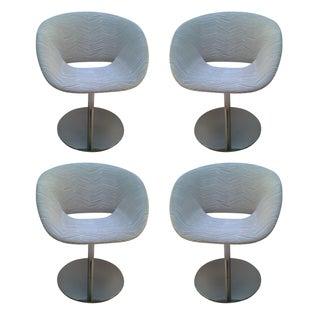 Modern Chrome Swivel Chairs - Set of 4