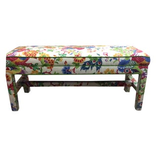Upholstered Bench in Peacock Print Linen