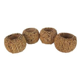 Wood Bead Napkin Rings - Set of 4