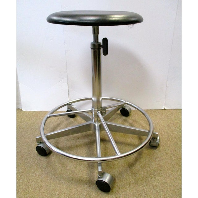 Image of Industrial Adjustable Metal Rolling Stools - Set of 3