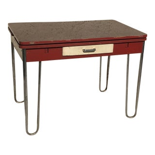 Vintage Desk With Hairpin Legs & Wings