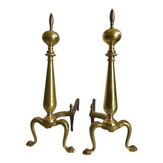 1960's Brass Andirons - A Pair