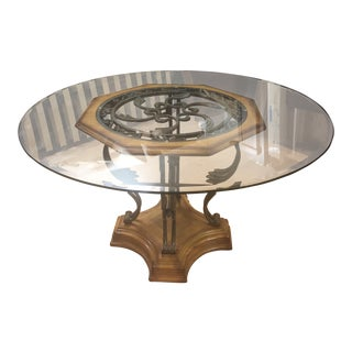 Tuscan Style Wood, Glass & Iron Dining Table