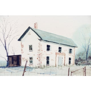 R Von Maur House in the Field Watercolor Painting