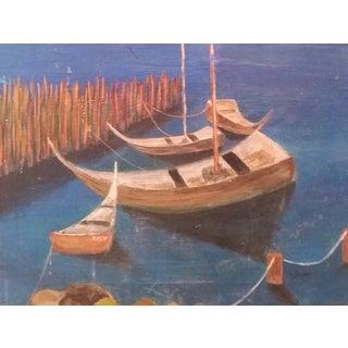 Framed Vintage Midcentury Seascape Harbor Painting