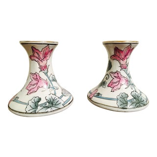Vintage Floral Ceramic Candle Holders - a Pair