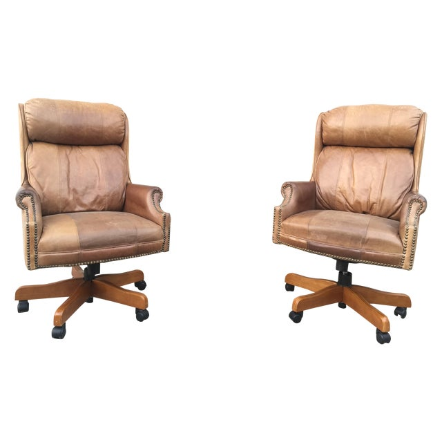 Mid-Century Italian Leather Chairs - Pair - Image 1 of 11