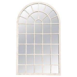 1980s Belgium White Washed Oversized Arch Mirror