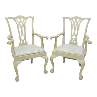 Distressed Cream Painted Ball & Claw Armchairs - A Pair