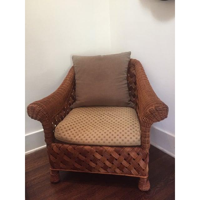 Asian Rattan Chair Amp Down Pillows Chairish