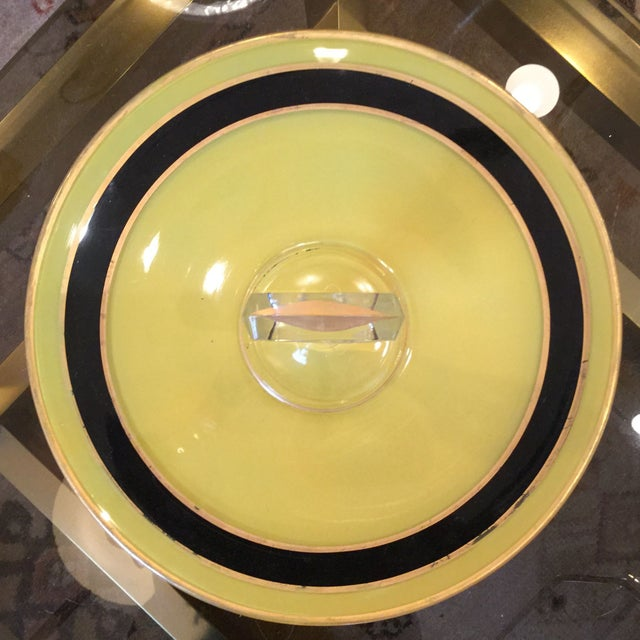 Image of Yellow and Black Art Deco Serving Dish