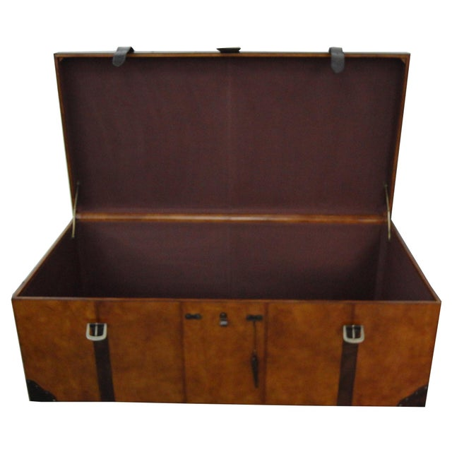 Rectangular Leather Manchester Storage Trunk Chest - Image 2 of 8