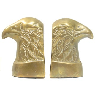 Vintage Bald Eagle Brass Bookends - A Pair