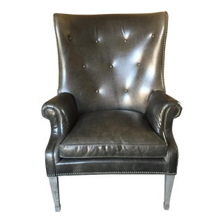 Charcoal Grey Leather Wing Chair