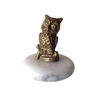 Brass Accent Owl on Round Marble Base