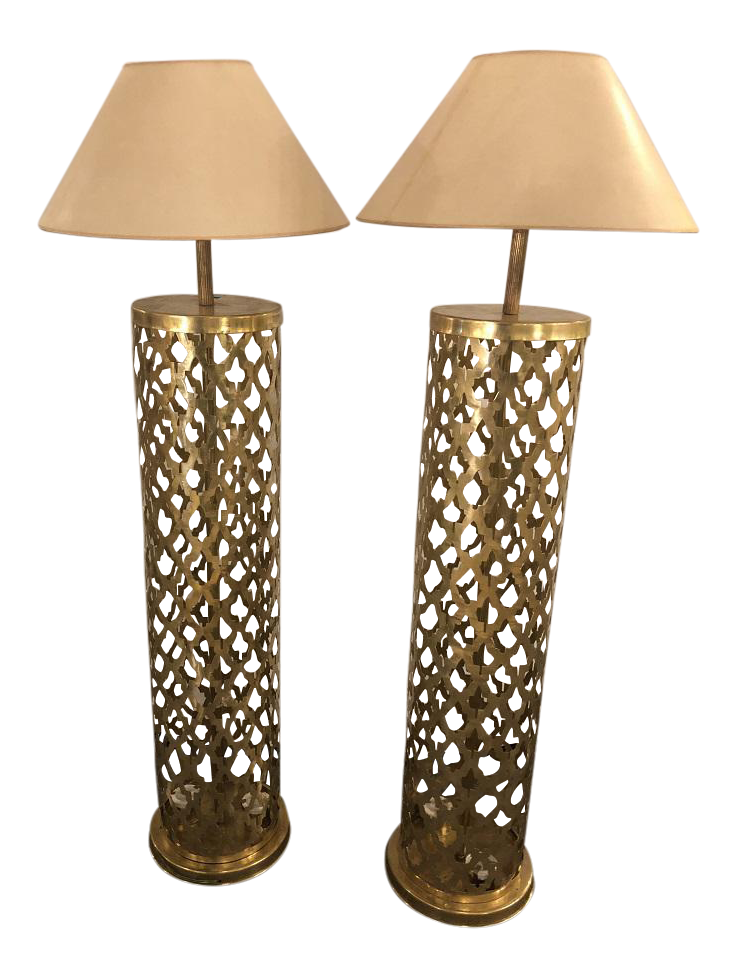 Moroccan Brass Floor Lamps   A Pair