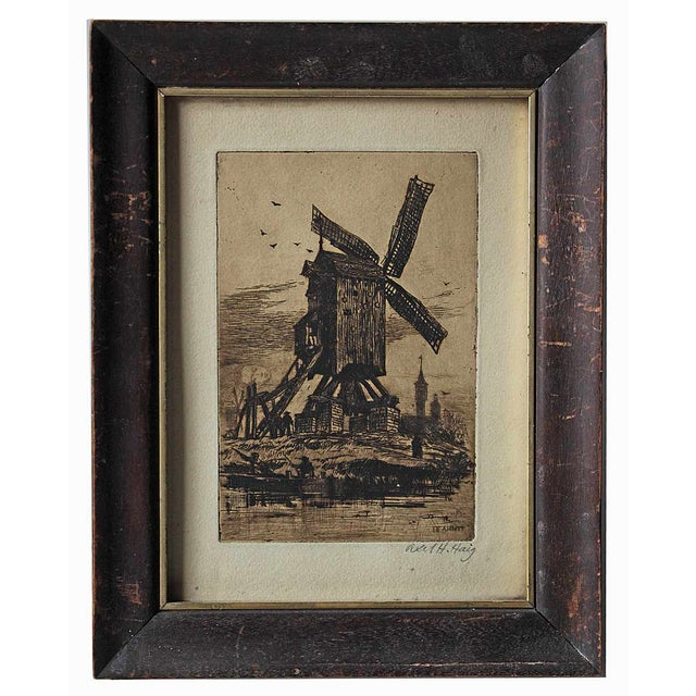 Antique Etching, Framed and Signed - Image 1 of 2