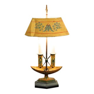Neoclassical Yellow Painted Tôle Lamp