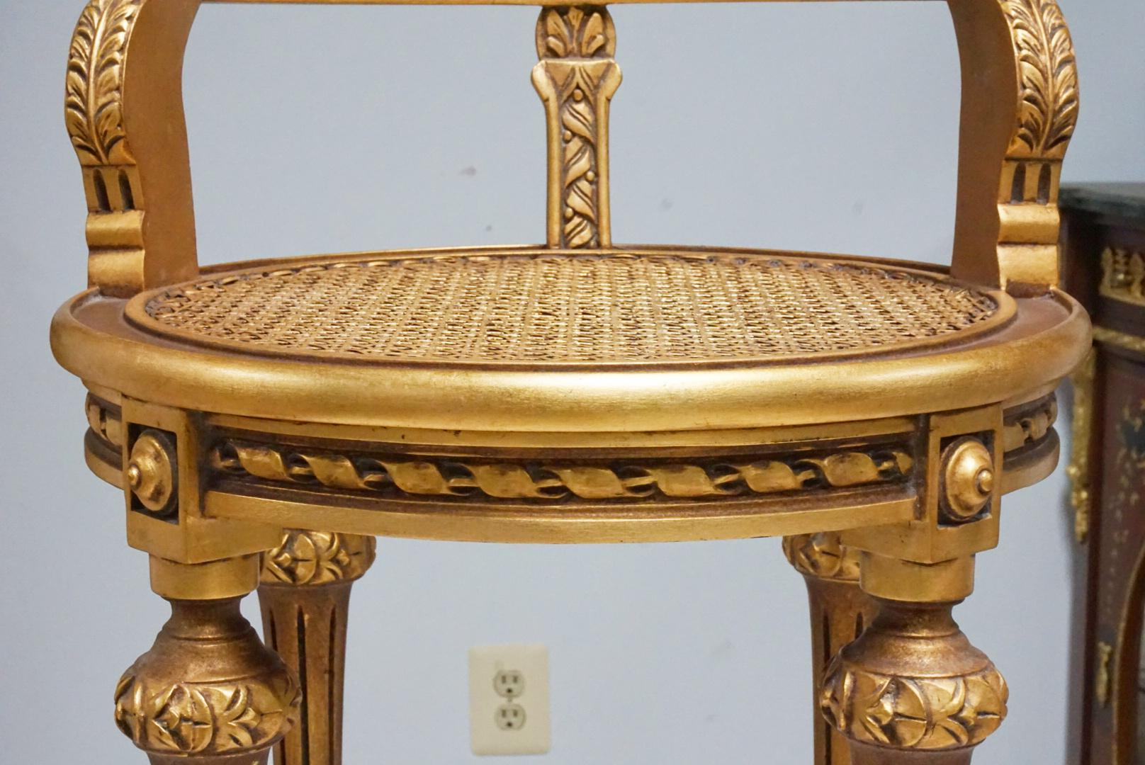 Gold Caned French Style Accent Chair   Image 6 Of 7