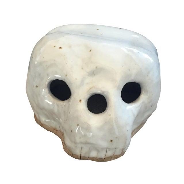 Folk Art Clay Skull Head Sculpture - Image 1 of 6