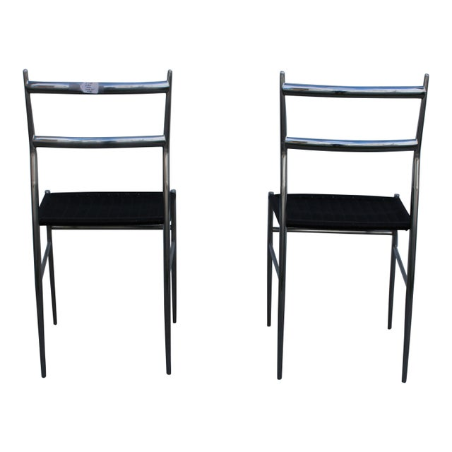 """""""Gio Ponti"""" Style Chrome Plated Steel Chairs - A Pair - Image 2 of 4"""
