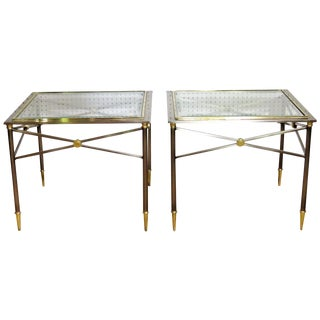 Directoire Style Chrome & Brass Side Tables - A Pair