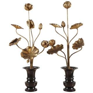 Japanese gilt wood flowers