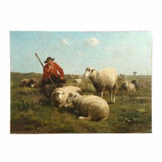"Cornelius Van Leemputten & Jan David Col ""Shepherd With His Sheep"" Painting"