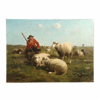 "Cornelius Van Leemputten & Jan David Col ""Shepherd With His Sheep"" Painting"