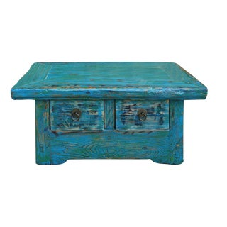 Chinese Rustic Distressed Blue & Green Table
