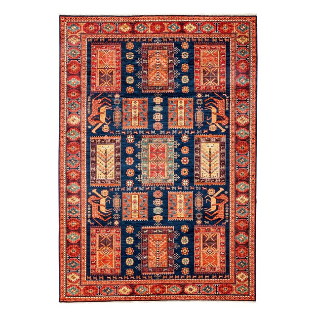 Image of Contemporary Traditional Hand-Knotted Rug - 6' X 8'7""