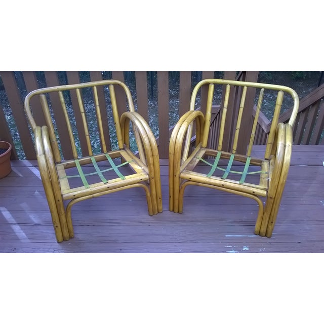 Vintage Bamboo Bentwood Rattan Chairs - A Pair - Image 3 of 10