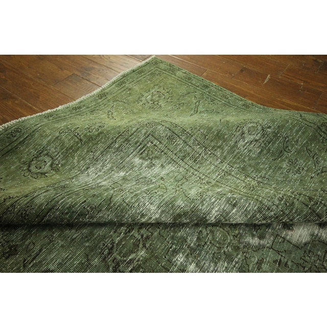 Traditional Green Overdyed Area Rug - 8' x 11' - Image 9 of 10