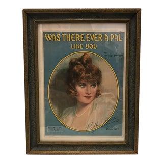 1919 Billie Burke Framed Music Sheet