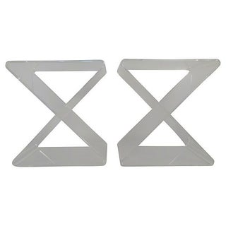 X-Shaped Lucite End Tables - A Pair