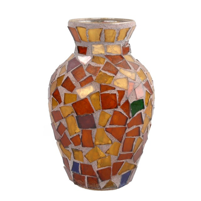 Amber Glass Mosaic & Terracotta Vase - Image 6 of 6
