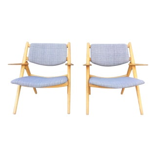 Vintage Grey Linen Saddle Chairs- A Pair