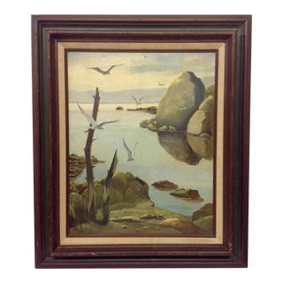 Carl Firth Mid-Century East Shore Oil Painting