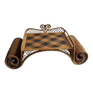 Natural Wicker Bed Tray With Scrolling Arms and Servants Bell