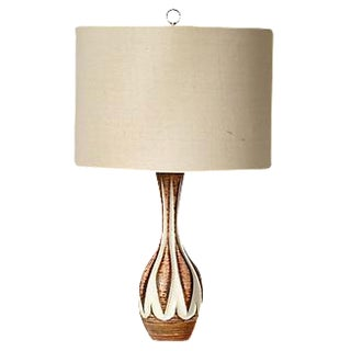 1960s Vintage Cream & Brown Lamp