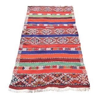 Vintage Turkish Embroidered Handmade Woven Kilim - 3′ × 5′8″