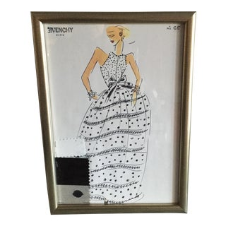 Framed Givenchy Croquis of a Polka Dot Ball Gown