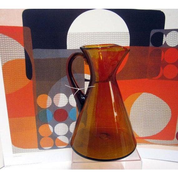 Modernist Amber Blenko Glass Vase Pitcher - Image 3 of 5