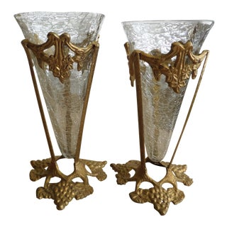 Solid Brass Grapevine Motif Display Stands - A Pair